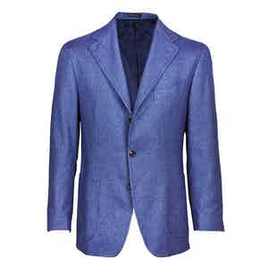 Blue Single-Breasted Cashmere Jacket