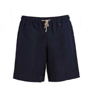 Navy Linen And Cotton Swim Shorts