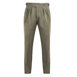 Olive Green Manny Pleated Cotton Trousers