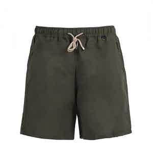 Olive Linen And Cotton Swim Shorts
