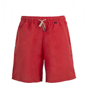 Red Linen And Cotton Swim Shorts