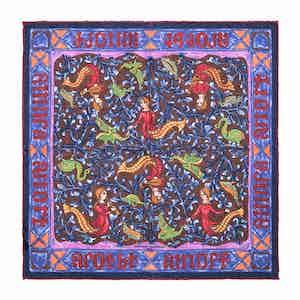 Purple Mermaid Print Silk Pocket Square