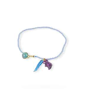 Blue and Gold Agate Charm Bracelet