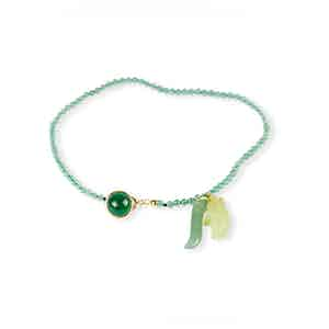 Green and Gold Agate Charm Bracelet