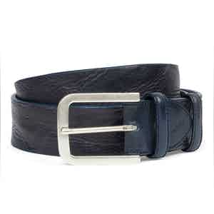 Blue Vintage Leather Belt With Aged Silver Buckle