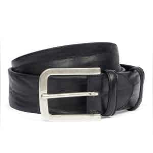 Black Vintage Leather Belt With Aged Silver Buckle