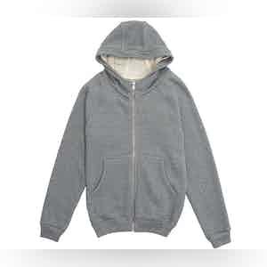 Stone Grey Auban Melange Cotton Fleece Hooded Jumper