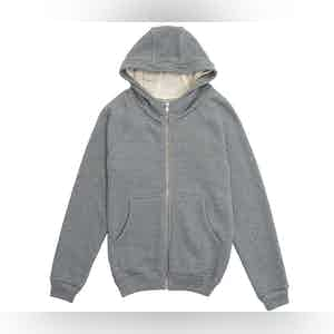 Stone Grey Auban Melange Cotton Fleece Hooded Jumper
