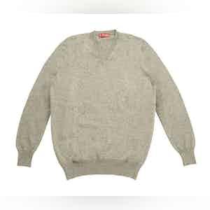 Grey Cashmere V-Neck Sweater