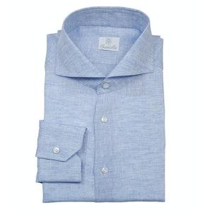 Light Blue Linen Cutaway Collar Shirt