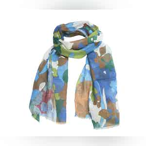 Green and Bordeaux Floral Linen Scarf