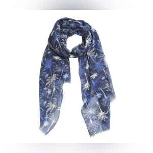 Blue and Black Palm Tree Linen Scarf