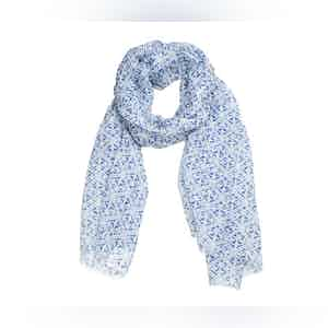 Blue and White Motif Linen Scarf