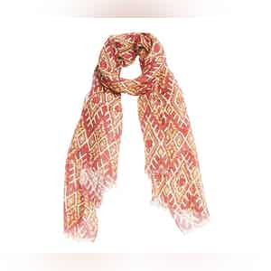 Yellow and Red Patterned Linen Scarf