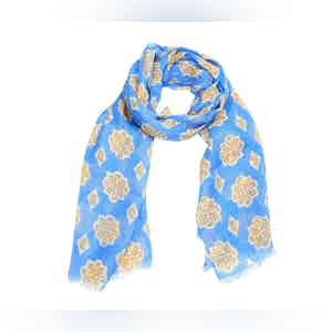 Blue and Yellow Printed Linen Scarf