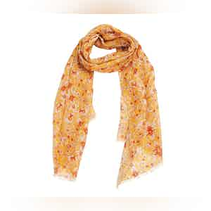 Mustard and Red Floral Linen Scarf