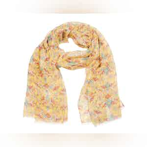 Yellow, Red and Turquoise Floral Linen Scarf