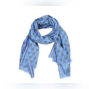 Blue, White and Green Flower Linen Scarf