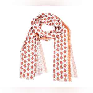 White and Red Bouquet Linen Scarf