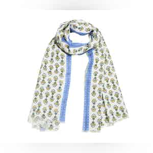 White, Green and Yellow Bouquet Linen Scarf