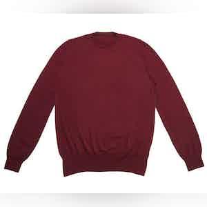 Burgundy Crew Neck Extra Fine Merino Sweater
