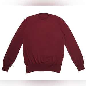 Burgundy Crew Neck Extra Fine Merino Sweater