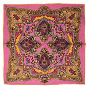 Pink Positano Silk Pocket Square