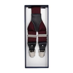 Burgundy Silk and Blue Leather Braces