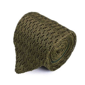 Olive Green Striped Silk V-Point Tie
