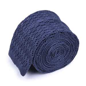 Dark Grey Striped Knitted Silk Square-Ended Tie