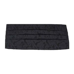 Black Jacquard Patterned Silk 4-Pleat Cummerbund