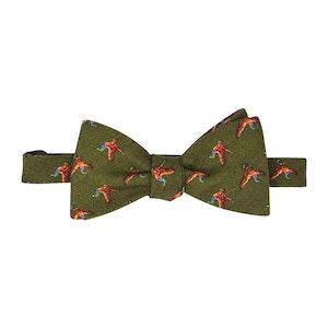 Green Birds Self-Tie Wool Patterned Bow Tie