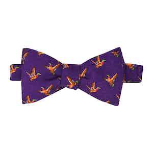 Purple Birds Self-Tie Wool Pattern Bow Tie