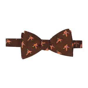 Brown Birds Self-Tie Wool Pattern Bow Tie