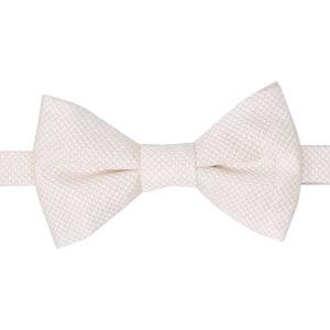 White Matelassé Pre-Tied Silk Bow Tie