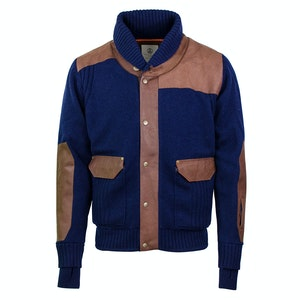 Navy and Brown Shawl Collar Leather and Wool Jacket