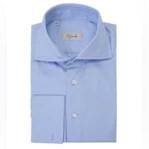 Blue Spread Collar French Cuff Cotton Shirt