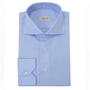 Blue Spread Collar Cotton Shirt