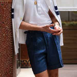 Navy Loro Piana Cotton And Linen Blend Denim Shorts