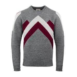 Grey, Red and White Ski Race Wool Jumper
