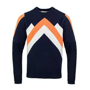 Navy, Orange and White Ski Race Wool Jumper
