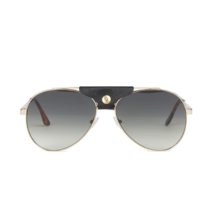 Gold Frame Green Lens Pilot Sunglasses