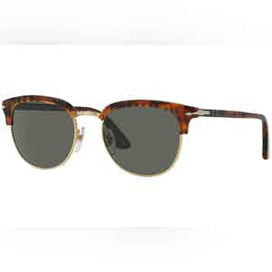 Icons PO3105S 108/58 Caffe with Crystal Green Lenses Sunglasses