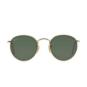 Round Metal RB3447 001 Gold and Green Lenses Sunglasses