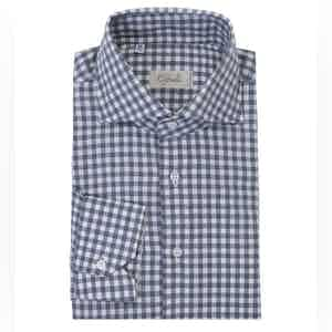 Charcoal and White Gingham Spread Collar Cotton Shirt
