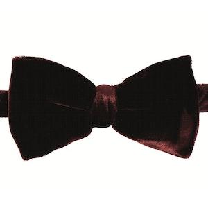 Burgundy Velvet Silk Bow Tie