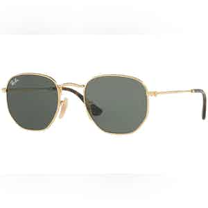 Black Hexagonal Frames with Flat Grey Lenses Sunglasses RB3548N 001