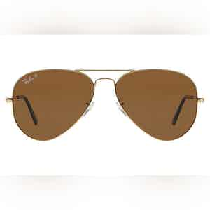 Aviator Classic RB3025 001/57 Gold Frames with Polarized Brown Lenses Sunglasses