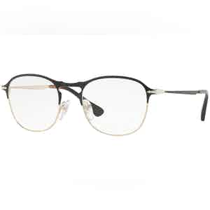 Black and Gold Thin Frames with Clear Lenses Eyewear PO7007V 1070
