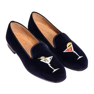 Blue Embroidered Martini Velvet Slippers